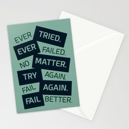 Lab No. 4 Ever Tried Samuel Beckett Motivational Quotes Stationery Cards