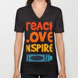 Teaching Loving Inspiring School Teacher Gift Unisex V-Neck