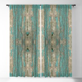 Weathered Rustic Wood - Weathered Wooden Plank - Beautiful knotty wood weathered turquoise paint Blackout Curtain