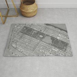 Vintage map of Manhattan Central park in gray Rug