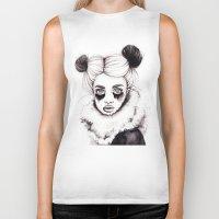 red panda Biker Tanks featuring Panda by Nora Bisi