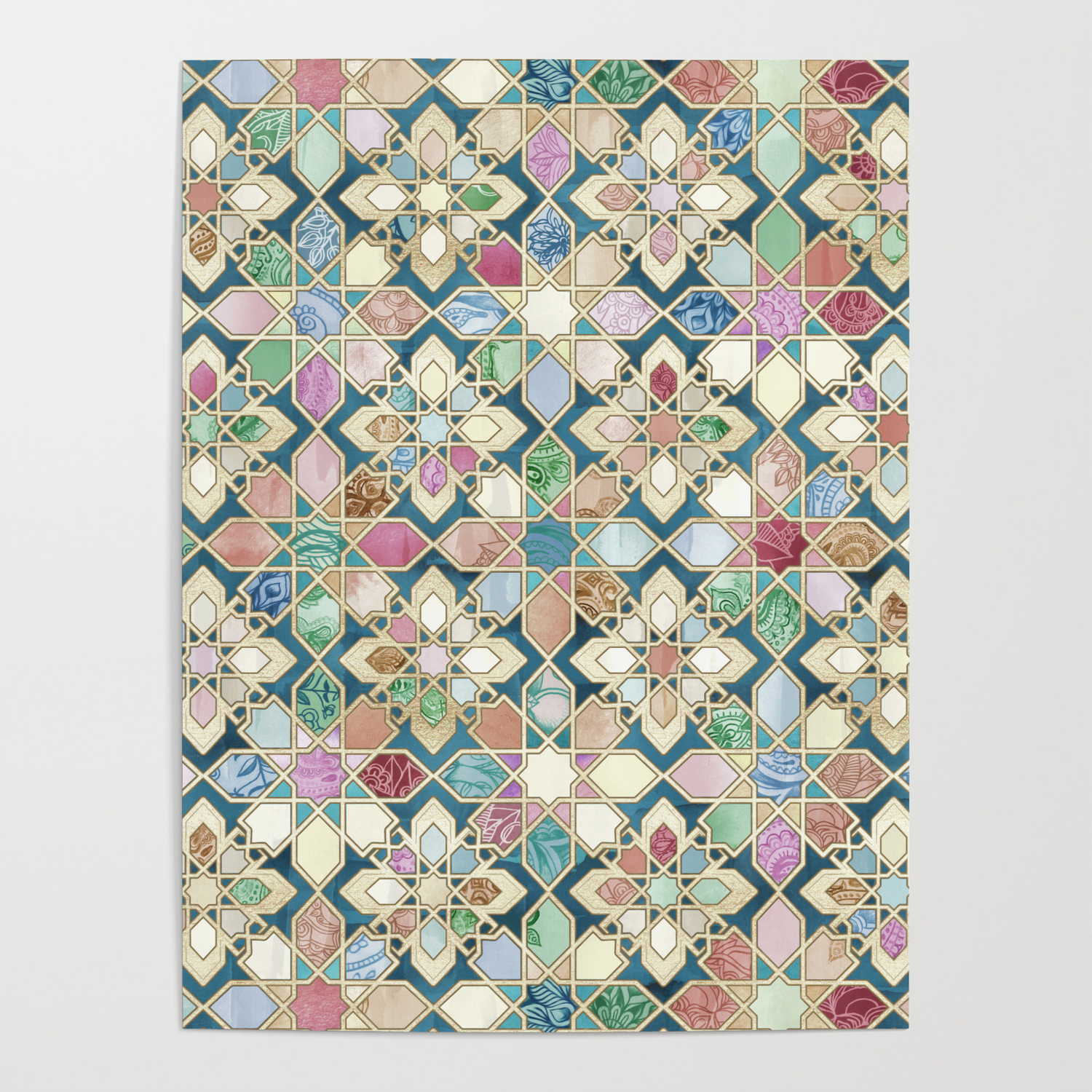 muted moroccan mosaic tiles poster by micklyn