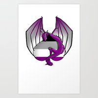 asexual Art Prints featuring Asexual Wyvern by (i)Rene