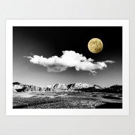 Black Desert Sky & Golden Moon // Red Rock Canyon Las Vegas Mojave Lune Celestial Mountain Range Art Print