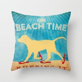 Beach Time Lab by Stephen Fowler Throw Pillow
