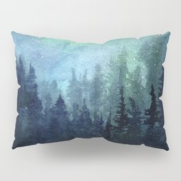 Galaxy Watercolor Aurora Borealis Painting Pillow Sham