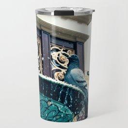 Pigeon on Fountain Travel Mug
