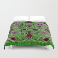 heavy metal Duvet Covers featuring Lady Panda and her heavy metal band by Pepita Selles