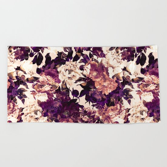 Watercolors Floral Pattern Beach Towel