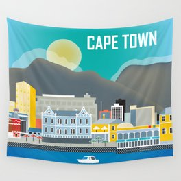 Cape Town, South Africa - Skyline Illustration by Loose Petals Wall Tapestry