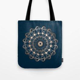 Delicate rose mandala on dark blue Tote Bag