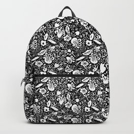 Funky Vintage Floral // Monochrome Black and White // Color Your Own Flower Garden Backpack