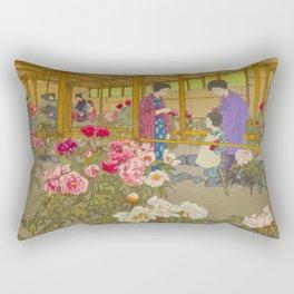Tokugawa Peony Garden Hiroshi Yoshida Vintage Japanese Woodblock Print Rectangular Pillow