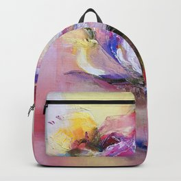 "''Pink"" oil on canvas by Diana Grigoryeva Backpack"