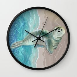 Gray Seal Where the Ocean Meets the Sand Wall Clock