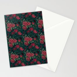 Project 413 | Cottage Rose on Dark Teal Green Stationery Cards