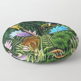 Classical Masterpiece 'Tropical Birds and Flying Things' by Henry Rousseau Floor Pillow