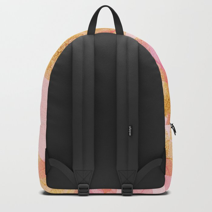 Autumn-world- gold leaves on pink Backpack