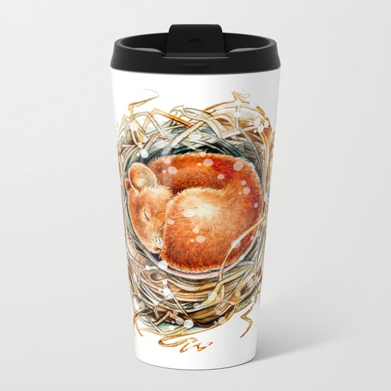 Mouse in the Snow Metal Travel Mug