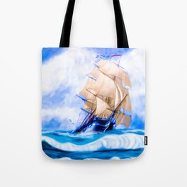 Frigate USS Constitution At Sea Tote Bag