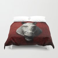 cyberpunk Duvet Covers featuring EQVVS (Background option) by Obvious Warrior