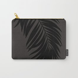 Palm Leaf Black on Seaside Stone Carry-All Pouch