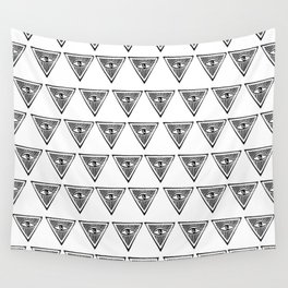 Linocut eye triangle pyramid symbol minimal black and white hipster Wall Tapestry