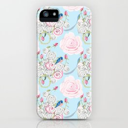 Shabby Chic Bluebirds and Watercolor Roses on pale blue iPhone Case