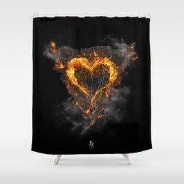Fiery Heart Shower Curtain