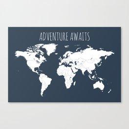Adventure Awaits World Map in Navy Blue Canvas Print