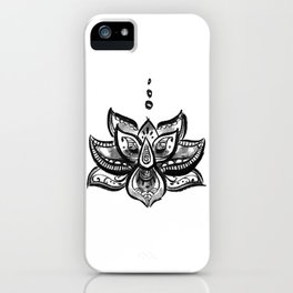 Lotus flower b/w iPhone Case