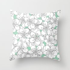 Cherry Blossom With Mint Blocks - In Memory of Mackenzie Throw Pillow
