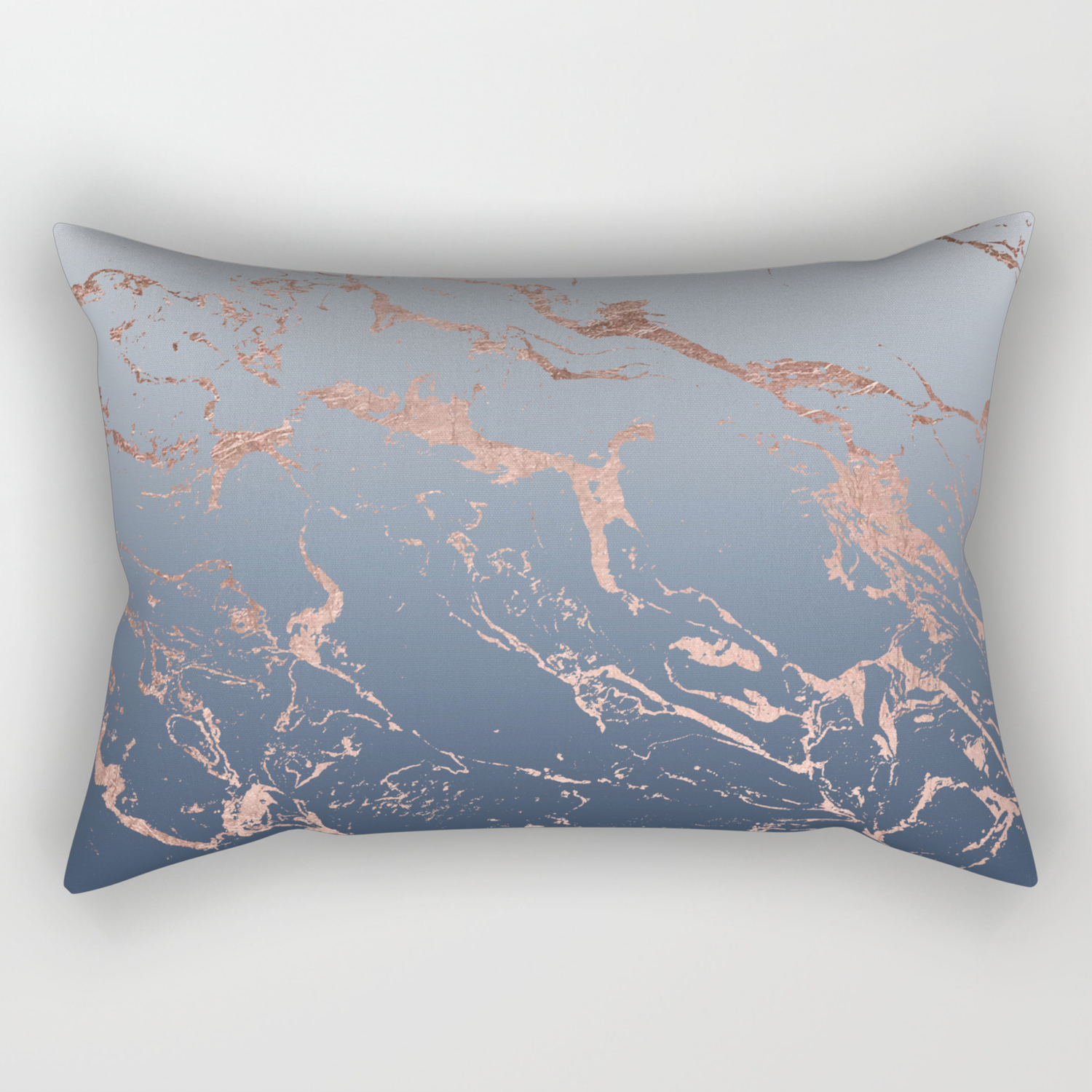 Modern Grey Navy Blue Ombre Rose Gold Marble Pattern Rectangular Pillow By Girlytrend Society6