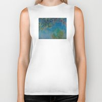 monet Biker Tanks featuring Claude Monet Wisteria by Elegant Chaos Gallery