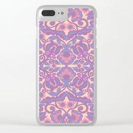 Purple Vines Folk Art Flower Pattern Clear iPhone Case