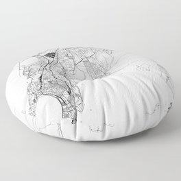 Mumbai White Map Floor Pillow