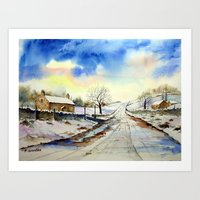 Wintery Lane Art Print