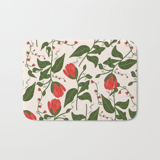 Red Bright Floral Pattern Bath Mat