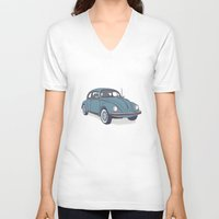 vw V-neck T-shirts featuring VW Beetle by Lara Trimming