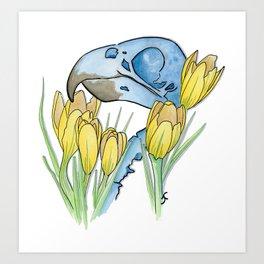 The Parakeet and The Crocus Art Print