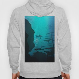 Beautiful coral reef and silhouettes of diver and school of fish in a blue sea Hoody