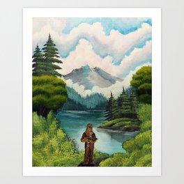 """Mystic Mountain, Kashyyyk"" (Bob Ross-style StarWars painting) Art Print"