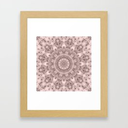 Pink marble kaleidoscope, ornament elements print Framed Art Print