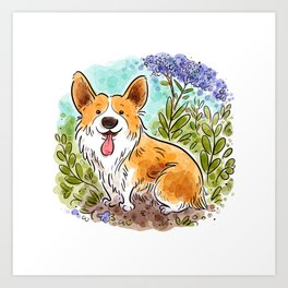 Garden Corgi Art Print