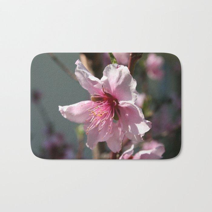 Close Up of Peach Tree Blossom Bath Mat