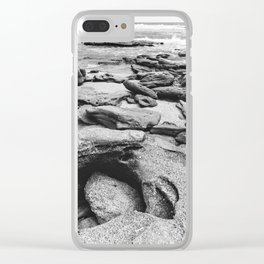 Coquina Rocks in Black and White Clear iPhone Case