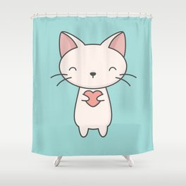 Kawaii Cute Cat With Heart Shower Curtain