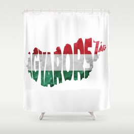 Magyarország World Map / Hungary Typography Flag Map Art Shower Curtain