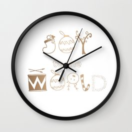 Joy to the World in Gold Funky Font Wall Clock