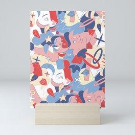 Man and girl surrealistic pattern Mini Art Print
